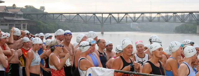 The Swim Start at Marble Falls Triathlon